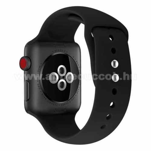 Apple Watch Series 5 44mm Okosóra szíj - FEKETE - szilikon - APPLE Watch Series 3/2/1 42mm / APPLE Watch Series 4 44mm / APPLE Watch Series 5 44mm