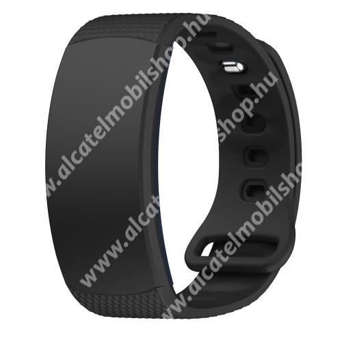 Okosóra szíj - FEKETE - szilikon, L-es méret, 90mm+123mm hosszú, 150mm-től 213mm-es méretű csuklóig ajánlott - SAMSUNG Gear Fit 2 SM-R360 / Samsung Gear Fit 2 Pro SM-R365