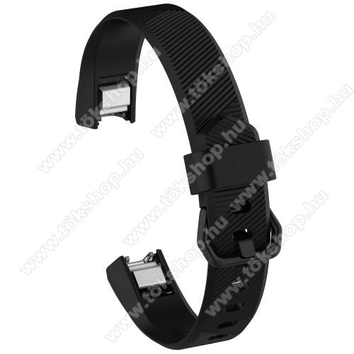 Okosóra szíj - FEKETE - szilikon, Twill mintás, 93 + 70mm hosszú, 15mm széles - Fitbit Alta HR