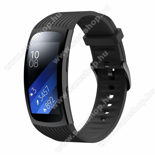 SAMSUNG SM-R360 Gear Fit 2Okosóra szíj - FEKETE - szilikon, Twill mintás, S-es méret, 98mm+63mm hosszú - SAMSUNG Gear Fit 2 SM-R360 / Samsung Gear Fit 2 Pro SM-R365