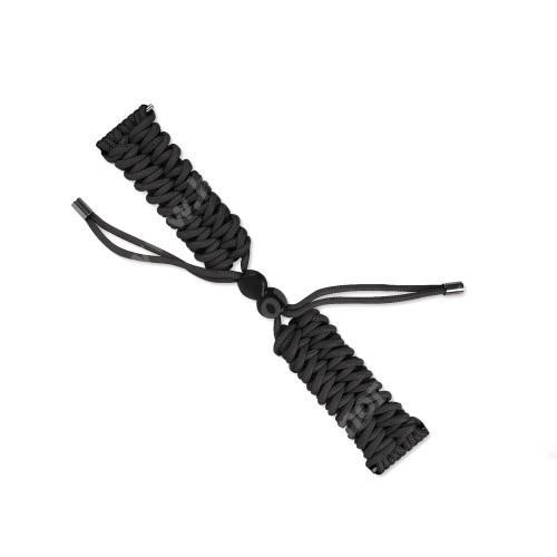 Okosóra szíj - FEKETE - szövet fonott kötél, kézzel készített, állítható - 240mm hosszú, 22mm széles, 150-220mm-es átmérőjű csuklóméretig - SAMSUNG Galaxy Watch 46mm / Watch GT2 46mm / Watch GT 2e / Galaxy Watch3 45mm / Honor MagicWatch 2 46mm