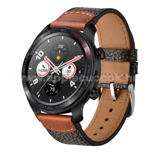 Okosóra szíj - FEKETE - valód bőr, 80mm + 120mm hosszú, 22mm széles - SAMSUNG Galaxy Watch 46mm / SAMSUNG Gear S3 Classic / Gear S3 Frontier / Honor MagicWatch 2 46mm