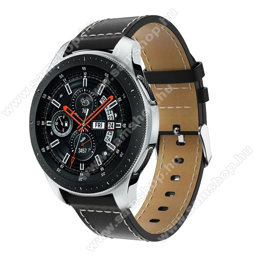SAMSUNG SM-R770 Gear S3 ClassicOkosóra szíj - FEKETE - valódi bőr, 109mm + 83mm hosszú, 22mm széles, max 200mm-es csuklóra - SAMSUNG Galaxy Watch 46mm / SAMSUNG Gear S3 Classic / SAMSUNG Gear S3 Frontier