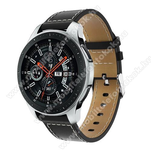 Okosóra szíj - FEKETE - valódi bőr, 109mm + 83mm hosszú, 22mm széles, max 200mm-es csuklóra - SAMSUNG Galaxy Watch 46mm / SAMSUNG Gear S3 Classic / SAMSUNG Gear S3 Frontier