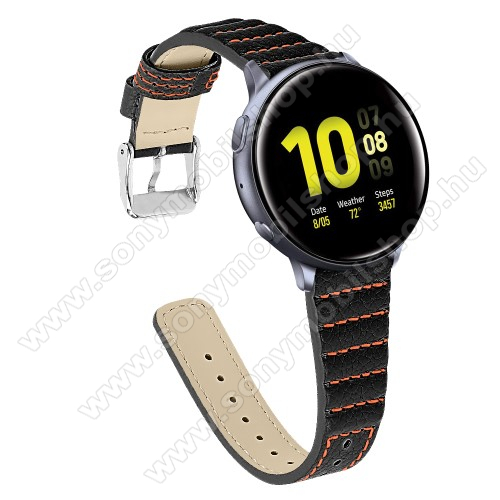 Okosóra szíj - FEKETE - valódi bőr, 115+75mm hosszú, 20mm széles - SAMSUNG Galaxy Watch 42mm / Xiaomi Amazfit GTS / SAMSUNG Gear S2 / HUAWEI Watch GT 2 42mm / Galaxy Watch Active / Active 2