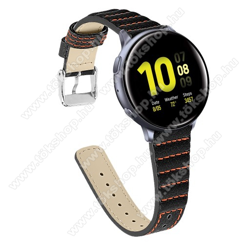 vivo Watch 42mmOkosóra szíj - FEKETE - valódi bőr, 115+75mm hosszú, 20mm széles - SAMSUNG Galaxy Watch 42mm / Xiaomi Amazfit GTS / SAMSUNG Gear S2 / HUAWEI Watch GT 2 42mm / Galaxy Watch Active / Active 2