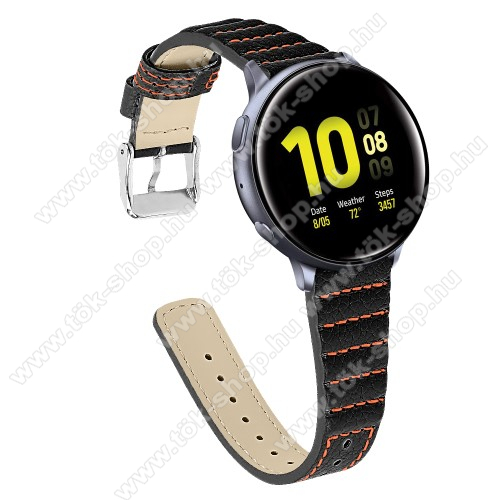 Okosóra szíj - FEKETE - valódi bőr, 115+75mm hosszú, 20mm széles - SAMSUNG Galaxy Watch 42mm / Xiaomi Amazfit GTS / HUAWEI Watch GT / SAMSUNG Gear S2 / HUAWEI Watch GT 2 42mm / Galaxy Watch Active / Active  2 / Galaxy Gear Sport