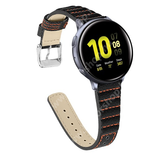 HUAWEI Honor MagicWatch 2 42mm Okosóra szíj - FEKETE - valódi bőr, 115+75mm hosszú, 20mm széles - SAMSUNG Galaxy Watch 42mm / Xiaomi Amazfit GTS / SAMSUNG Gear S2 / HUAWEI Watch GT 2 42mm / Galaxy Watch Active / Active 2
