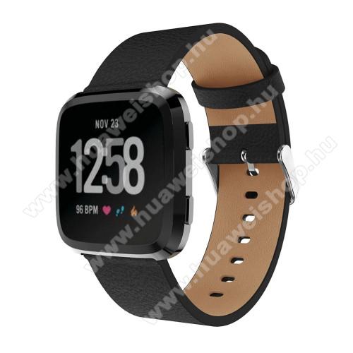 Okosóra szíj - FEKETE - valódi bőr, 115 + 85mm - Fitbit Versa
