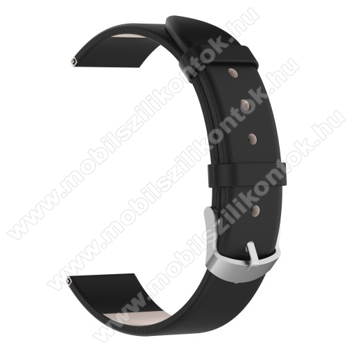 Okosóra szíj - FEKETE - valódi bőr, 118,5 + 88,5 mm hosszú, 20mm széles - SAMSUNG SM-R600 Galaxy Gear Sport / SAMSUNG SM-R810NZ Galaxy Watch 42mm / SAMSUNG SM-R720 Gear S2 Classic / HUAWEI Watch GT 2 42mm