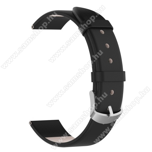 SAMSUNG SM-R600 Galaxy Gear SportOkosóra szíj - FEKETE - valódi bőr, 118,5 + 88,5 mm hosszú, 20 mm széles - SAMSUNG SM-R600 Galaxy Gear Sport / SAMSUNG SM-R810NZ Galaxy Watch 42mm / SAMSUNG SM-R720 Gear S2 Classic / HUAWEI Watch GT 2 42mm
