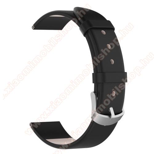 Okosóra szíj - FEKETE - valódi bőr, 118,5 + 88,5 mm hosszú, 20mm széles - SAMSUNG SM-R600 Galaxy Gear Sport / SAMSUNG SM-R810NZ Galaxy Watch 42mm / SAMSUNG SM-R720 Gear S2 Classic / HUAWEI Watch GT 2 42mm