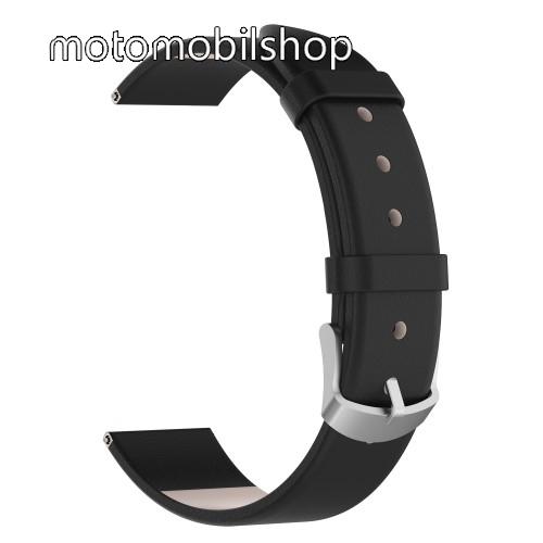 Okosóra szíj - FEKETE - valódi bőr, 118,5 + 88,5 mm hosszú, 20 mm széles - SAMSUNG SM-R600 Galaxy Gear Sport / SAMSUNG SM-R810NZ Galaxy Watch 42mm / SAMSUNG SM-R720 Gear S2 Classic / HUAWEI Watch GT 2 42mm