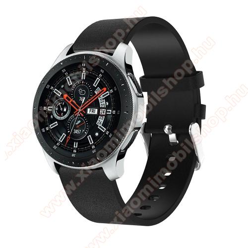 Okosóra szíj - FEKETE - valódi bőr, 127mm + 87mm hosszú, 22mm széles, max 210 mm-es csuklóra - SAMSUNG Galaxy Watch 46mm / SAMSUNG Gear S3 Classic / SAMSUNG Gear S3 Frontier