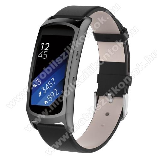 Okosóra szíj - FEKETE - valódi bőr - 128mm + 100mm, 18mm széles - SAMSUNG Gear Fit 2 SM-R360 / Samsung Gear Fit 2 Pro SM-R365