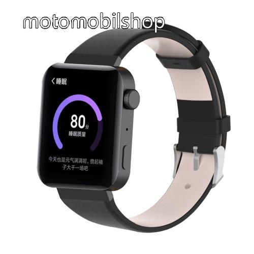 Okosóra szíj - FEKETE - valódi bőr - 18mm széles, 155-198mm átmérőjű csuklóméretig - Xiaomi Mi Watch / Fitbit Charge 3 / Fossil Gen 4 / HUAWEI TalkBand B5