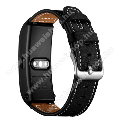 HUAWEI WatchOkosóra szíj - FEKETE - valódi bőr - 70mm+120mm hosszú, 18mm széles - Xiaomi Mi Watch (For China Market) / Fossil Gen 4 / HUAWEI TalkBand B5 / Talkband B3 Active / TalkBand B2 Active