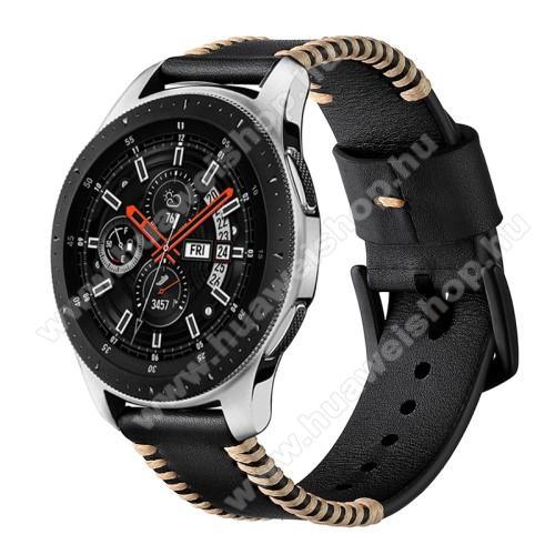Okosóra szíj - FEKETE - valódi bőr - 75 + 125mm hosszú, 20mm széles - SAMSUNG SM-R500 Galaxy Watch Active / SAMSUNG Galaxy Watch Active2 40mm / SAMSUNG Galaxy Watch Active2 44mm