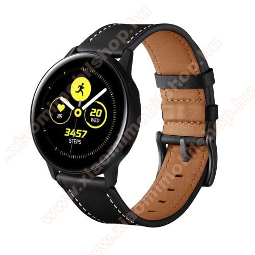 Xiaomi Amazfit GTR 42mmOkosóra szíj - FEKETE - valódi bőr - 80mm + 120mm hosszú, 20mm széles - SAMSUNG Galaxy Watch 42mm / Xiaomi Amazfit GTS / HUAWEI Watch GT / SAMSUNG Gear S2 / HUAWEI Watch GT 2 42mm / Galaxy Watch Active / Active 2