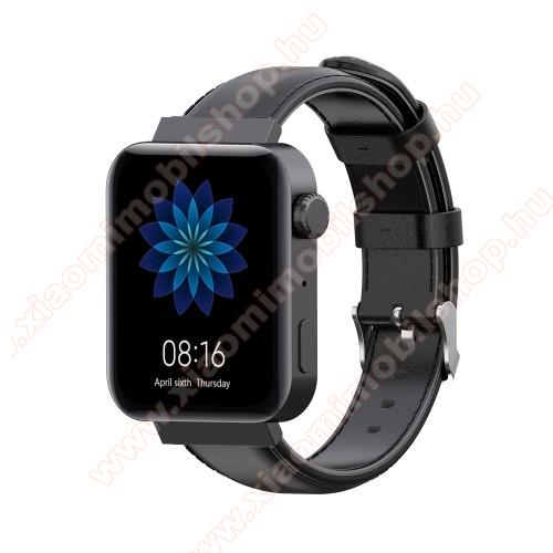 Xiaomi Mi WatchOkosóra szíj - FEKETE - valódi bőr - 87mm + 120mm hosszú, 18mm széles - Xiaomi Mi Watch / Fossil Gen 4 / HUAWEI TalkBand B5