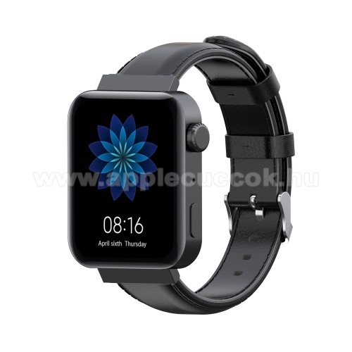 Okosóra szíj - FEKETE - valódi bőr - 87mm + 120mm hosszú, 18mm széles - Xiaomi Mi Watch / Fossil Gen 4 / HUAWEI TalkBand B5
