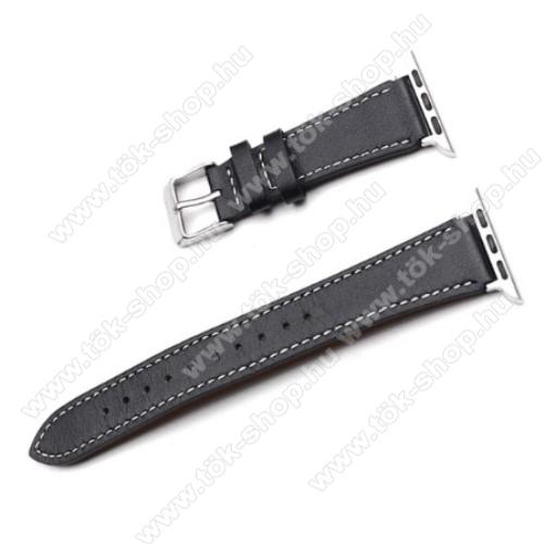 Okosóra szíj - FEKETE - valódi bőr -  Apple Watch Series 1/2/3 38mm / APPLE Watch Series 4 40mm / APPLE Watch Series 5 40mm