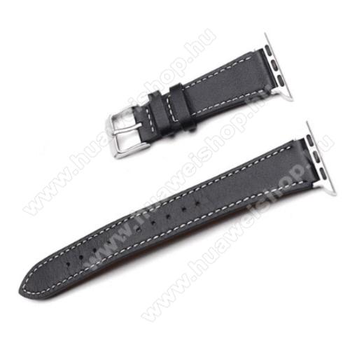 Okosóra szíj - FEKETE - valódi bőr -  Apple Watch Series 1/2/3 38mm / APPLE Watch Series 4 40mm