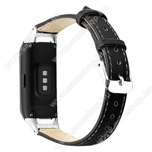 SAMSUNG Galaxy Fit (SM-R370)Okosóra szíj - FEKETE - valódi bőr - SAMSUNG SM-R370 Galaxy Fit