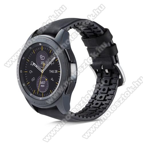 HUAWEI Honor MagicWatch 2 46mmOkosóra szíj - FEKETE - valódi bőr, szilikon - 85mm + 100mm hosszú, 18mm széles - HUAWEI Watch GT / HUAWEI Watch Magic / Watch GT 2 46mm