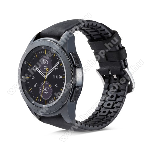 HUAWEI Watch GT 2 46mm Okosóra szíj - FEKETE - valódi bőr, szilikon - 85mm + 100mm hosszú, 18mm széles - HUAWEI Watch GT / HUAWEI Watch Magic / Watch GT 2 46mm