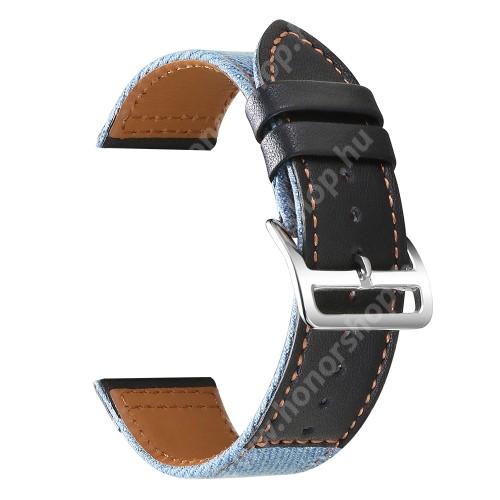 Okosóra szíj - FEKETE / VILÁGOSKÉK - szövet / PU bőrrel bevont - 89mm + 105mm hosszú, 22mm széles, 160-220mm-es átmérőjű csuklóméretig - SAMSUNG Galaxy Watch 46mm / Watch GT2 46mm / Watch GT 2e / Galaxy Watch3 45mm / Honor MagicWatch 2 46mm