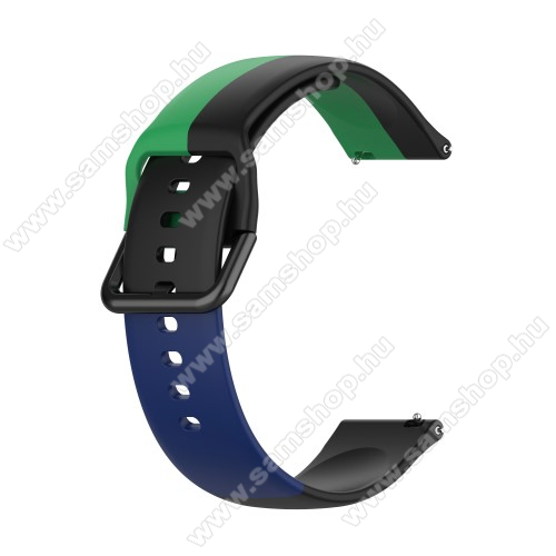 Okosóra szíj - FEKETE / ZÖLD / KÉK - szilikon - 88mm + 130mm hosszú, 22mm széles - SAMSUNG Galaxy Watch 46mm / Watch GT2 46mm / Watch GT 2e / Galaxy Watch3 45mm / Honor MagicWatch 2 46mm