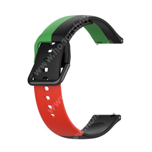 Okosóra szíj - FEKETE / ZÖLD / PIROS - szilikon - 88mm + 130mm hosszú, 22mm széles - SAMSUNG Galaxy Watch 46mm / Watch GT2 46mm / Watch GT 2e / Galaxy Watch3 45mm / Honor MagicWatch 2 46mm