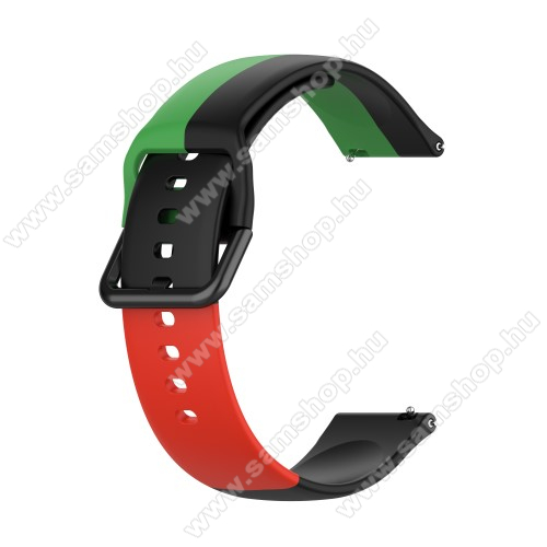 Okosóra szíj - FEKETE / ZÖLD / PIROS - szilikon - 88mm + 130mm hosszú, 20mm széles - SAMSUNG Galaxy Watch 42mm / Amazfit GTS / Galaxy Watch3 41mm / HUAWEI Watch GT 2 42mm / Galaxy Watch Active / Active 2