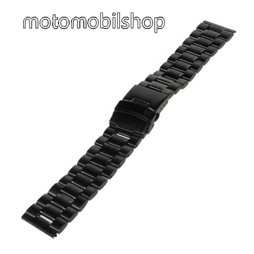 Okosóra szíj fém - FEKETE - Rozsdamentes acél, 190mm hosszú,  22mm széles - Samsung Gear 2 R380 / Samsung Gear 2 Neo R381 / LG G Watch W100 / LG G Watch R W110 / Asus Zenwatch