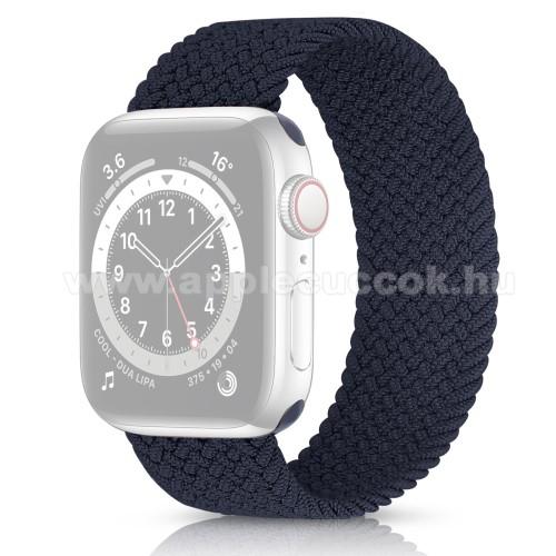 Apple Watch Series 5 44mmOkosóra szíj - fonott szövet körpánt - FEKETE - APPLE Watch Series 3/2/1 42mm / Watch Series 4/5/6 44mm / Watch SE 44mm