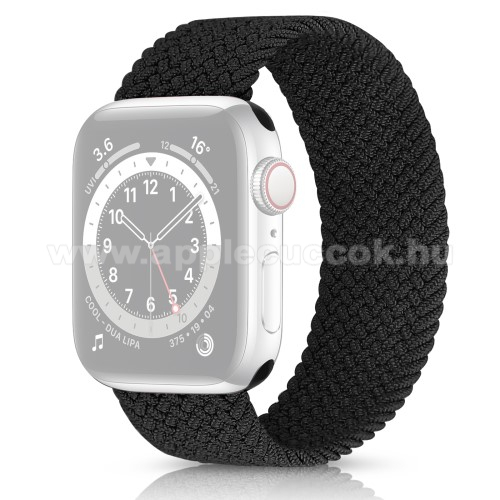 APPLE Watch Series 3 38mm Okosóra szíj - fonott szövet körpánt - FEKETE - Apple Watch Series 1/2/3 38mm / APPLE Watch Series 4/5/6 40mm / Watch SE 40mm
