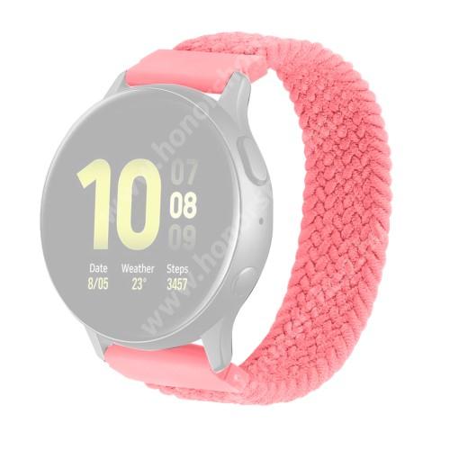 HUAWEI Honor Watch ES Okosóra szíj - fonott szövet körpánt - RÓZSASZÍN - XL-es méret, sztreccses, 20mm széles - SAMSUNG Galaxy Watch 42mm / Amazfit GTS / Galaxy Watch3 41mm / HUAWEI Watch GT 2 42mm / Galaxy Watch Active / Active 2