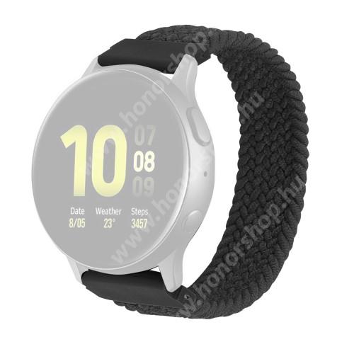 HUAWEI Watch GT 2 42mm Okosóra szíj - fonott szövet körpánt - SZÜRKE - M-es méret, sztreccses, 20mm széles - SAMSUNG Galaxy Watch 42mm / Amazfit GTS / Galaxy Watch3 41mm / HUAWEI Watch GT 2 42mm / Galaxy Watch Active / Active 2