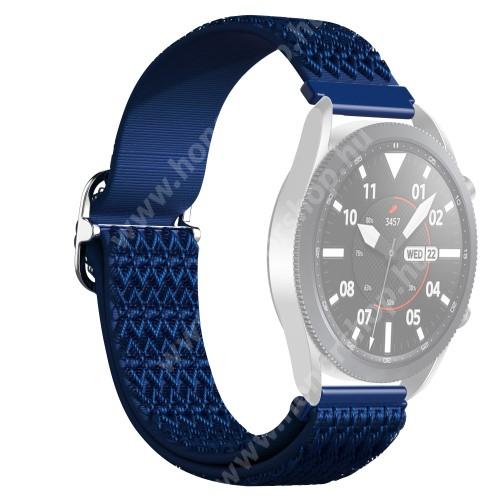 Okosóra szíj - fonott szövet, sztreccses, állítható, csatos - KÉK ROMBUSZ MINTÁS - 210mm hosszú, 22mm széles - SAMSUNG Galaxy Watch 46mm / Watch GT2 46mm / Watch GT 2e / Galaxy Watch3 45mm / Honor MagicWatch 2 46mm