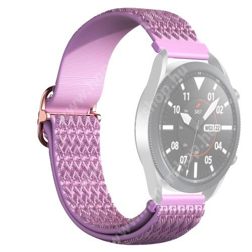 Okosóra szíj - fonott szövet, sztreccses, állítható, csatos - LILA ROMBUSZ MINTÁS - 210mm hosszú, 22mm széles - SAMSUNG Galaxy Watch 46mm / Watch GT2 46mm / Watch GT 2e / Galaxy Watch3 45mm / Honor MagicWatch 2 46mm
