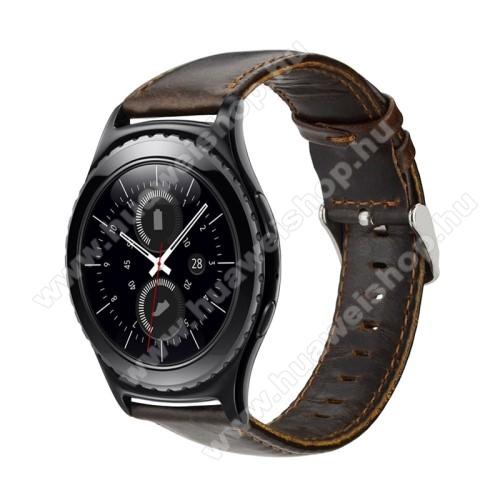 HUAWEI Watch 2Okosóra szíj - KÁVÉBARNA - valódi bőr - 102mm + 82mm hosszú, 17mm széles - HUAWEI Watch 2