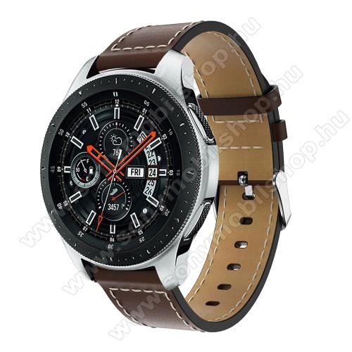 Okosóra szíj - KÁVÉBARNA - valódi bőr, 109mm + 83mm hosszú, 22mm széles, max 200mm-es csuklóra - SAMSUNG Galaxy Watch 46mm / SAMSUNG Gear S3 Classic / SAMSUNG Gear S3 Frontier
