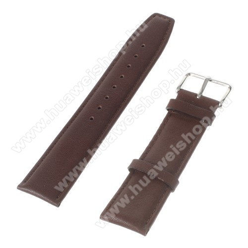 HUAWEI Watch 2Okosóra szíj - KÁVÉBARNA - valódi bőr, 22mm széles - Samsung Gear 2 R380 / Samsung Gear 2 Neo R381 / SAMSUNG SM-R770 Gear S3 Classic / LG G Watch W100 / LG G Watch R W110 / Asus Zenwatch / HUAWEI Watch 2