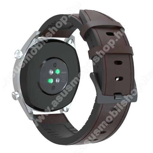 Okosóra szíj - KÁVÉBARNA - valódi bőr / szilikon - 90mm + 125mm hosszú, 20mm széles, 145-205mm-es átmérőjű csuklóméretig - SAMSUNG Galaxy Watch 42mm / Xiaomi Amazfit GTS / SAMSUNG Gear S2 / HUAWEI Watch GT 2 42mm / Galaxy Watch Active / Active 2