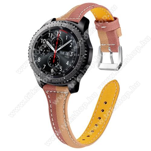 Okosóra szíj - KÁVÉBARNA / VILÁGOSBARNA - valódi bőr, 114+86mm hosszú, 22mm széles - SAMSUNG Galaxy Watch 46mm / Watch GT2 46mm / Watch GT 2e / Galaxy Watch3 45mm / Honor MagicWatch 2 46mm