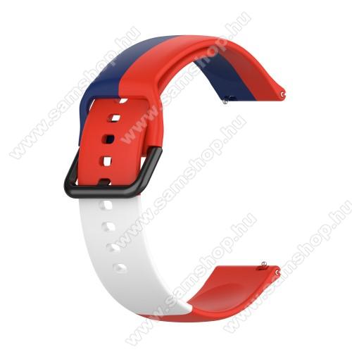 Okosóra szíj - KÉK / FEHÉR / PIROS - szilikon - 88mm + 130mm hosszú, 20mm széles - SAMSUNG Galaxy Watch 42mm / Amazfit GTS / Galaxy Watch3 41mm / HUAWEI Watch GT 2 42mm / Galaxy Watch Active / Active 2