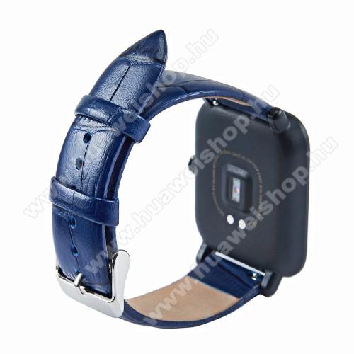 Okosóra szíj - KÉK - Krokodilbőr minta, valódi bőr - 84mm + 97mm hosszú, 18mm széles - SAMSUNG SM-R500 Galaxy Watch Active / SAMSUNG Galaxy Watch Active2 40mm / SAMSUNG Galaxy Watch Active2 44mm