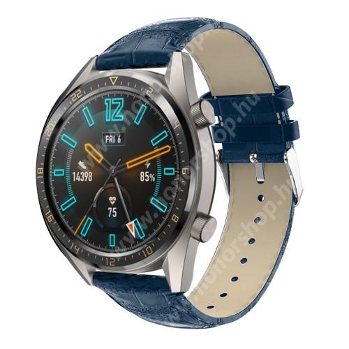 Okosóra szíj - KÉK - Krokodilbőr mintás, valódi bőr - 120 + 80mm hosszú, 22mm széles, 140-210mm-es csuklóig ajánlott - SAMSUNG Galaxy Watch 46mm / SAMSUNG Gear S3 Classic / Gear S3 Frontier / Honor MagicWatch 2 46mm