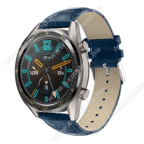 SAMSUNG Galaxy Watch 46mm (SM-R800NZ)Okosóra szíj - KÉK - Krokodilbőr mintás, valódi bőr - 120 + 80mm hosszú, 22mm széles, 140-210mm-es csuklóig ajánlott - SAMSUNG Galaxy Watch 46mm / SAMSUNG Gear S3 Classic / Gear S3 Frontier / Honor MagicWatch 2 46mm